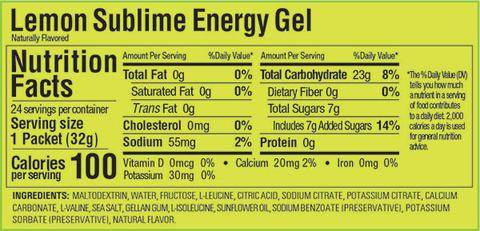 GU Gel Lemon Sublime Nutritional Facts